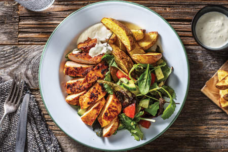 Portuguese-Style Chicken with Potato Wedges & Garden Salad